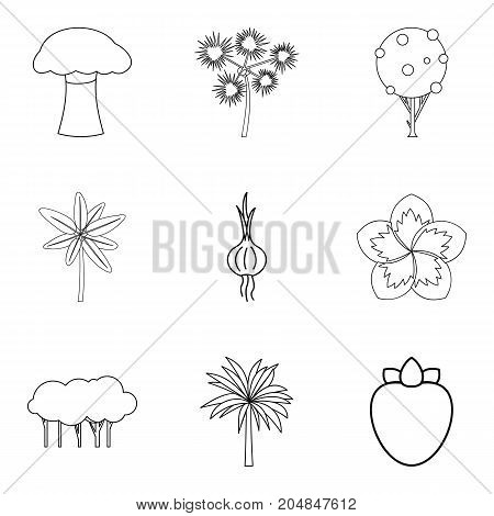 Grow vegetable icons set. Outline set of 9 grow vegetable vector icons for web isolated on white background