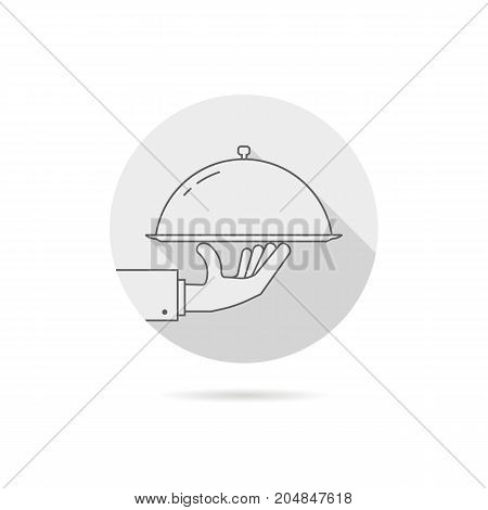 gray catering service logo with shadow. concept of wedding presentation, banquet, tasty, yummy, hot cloche, event sale. flat style trend brand graphic design vector illustration on white background