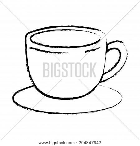 cup of coffee with handle on dish monochrome blurred silhouette vector illustration