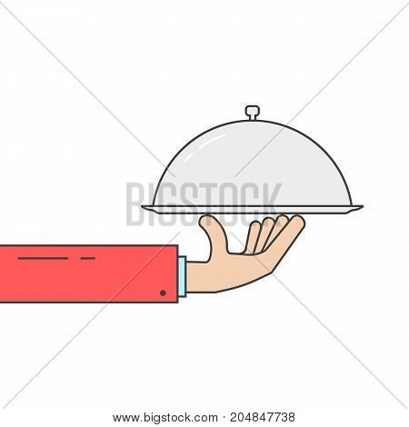 linear hand holding silver dish. concept of wedding presentation, banquet, tasty, yummy, hot cloche, event sale. flat style trend modern brand graphic design vector illustration on white background