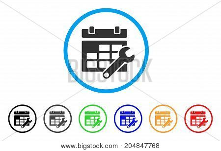 Timetable Options rounded icon. Style is a flat timetable options gray symbol inside light blue circle with black, gray, green, blue, red, orange variants.