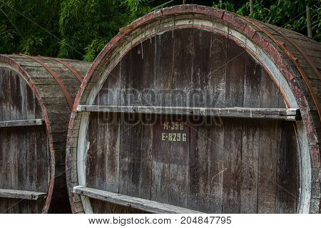 Wooden barrel for wine with steel ring Georgia