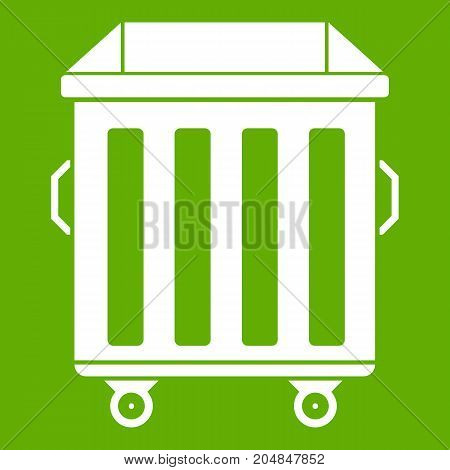 Dumpster on wheels icon white isolated on green background. Vector illustration