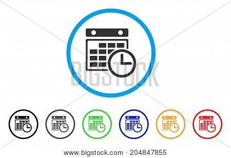 Timetable rounded icon. Style is a flat timetable gray symbol inside light blue circle with black, gray, green, blue, red, orange variants. Vector designed for web and software interfaces.