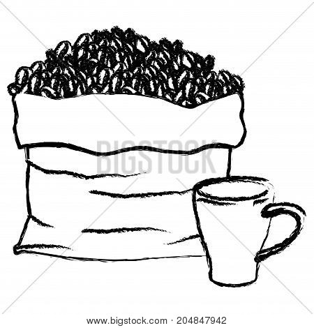 bag with beans and mug of coffee with handle monochrome blurred silhouette vector illustration