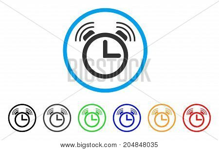 Alarm Clock rounded icon. Style is a flat alarm clock grey symbol inside light blue circle with black, gray, green, blue, red, orange versions. Vector designed for web and software interfaces.
