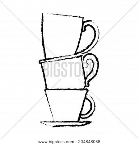 porcelain cup stack monochrome blurred silhouette vector illustration