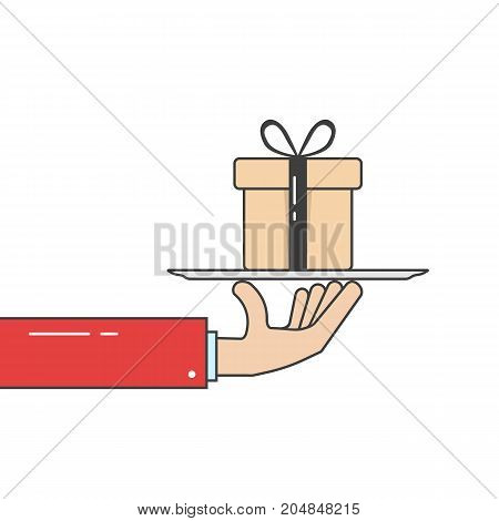 linear hand in suit holding gift box on dish. concept of xmas, bonus, event, crm, grant, gratitude, wish, credit, courier, discount. flat style graphic design vector illustration on white background