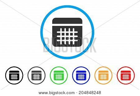 Calendar rounded icon. Style is a flat calendar grey symbol inside light blue circle with black, gray, green, blue, red, orange color versions. Vector designed for web and software interfaces.
