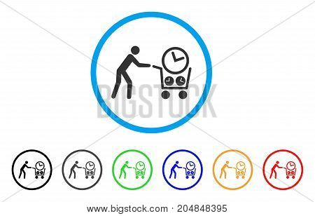 Clock Shopping rounded icon. Style is a flat clock shopping gray symbol inside light blue circle with black, gray, green, blue, red, orange versions. Vector designed for web and software interfaces.