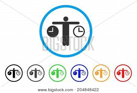Compare Time rounded icon. Style is a flat compare time grey symbol inside light blue circle with black, gray, green, blue, red, orange variants. Vector designed for web and software interfaces.