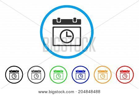 Date Time rounded icon. Style is a flat date time grey symbol inside light blue circle with black, gray, green, blue, red, orange versions. Vector designed for web and software interfaces.