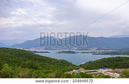 panoramic view of kotor bay montenegro. adriatic fjord in cloudy weather