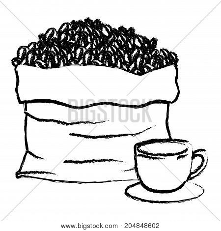bag with beans and cup of coffee with handle on dish monochrome blurred silhouette vector illustration