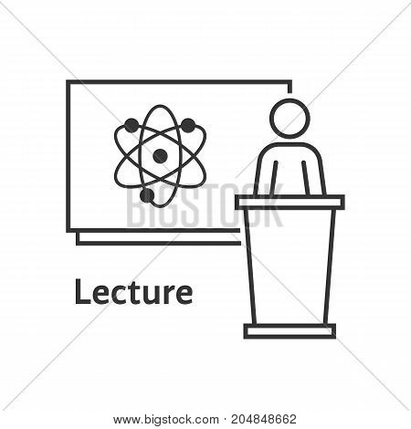 thin line scientific lecture. concept of e-learning, webinar, distance tutor, coach, leader, atom simple example, knowledge. flat style trend modern logo design vector illustration on white background