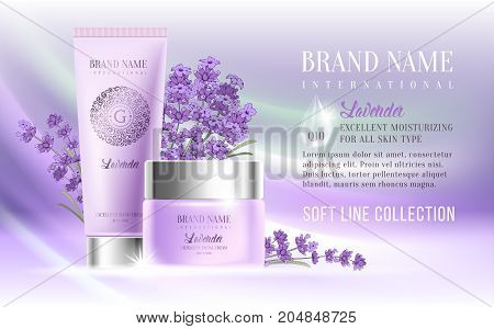 Excellent cosmetic ads facial cream and hand cream. For announcement sale or promotion new product. Realistic ream bottles on soft background with lavender flowers. Vector illustration.