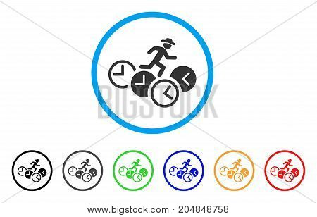 Gentleman Running Over Clocks rounded icon. Style is a flat gentleman running over clocks grey symbol inside light blue circle with black, gray, green, blue, red, orange versions.