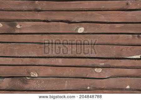 Wall made of wooden planks, outdoor shot