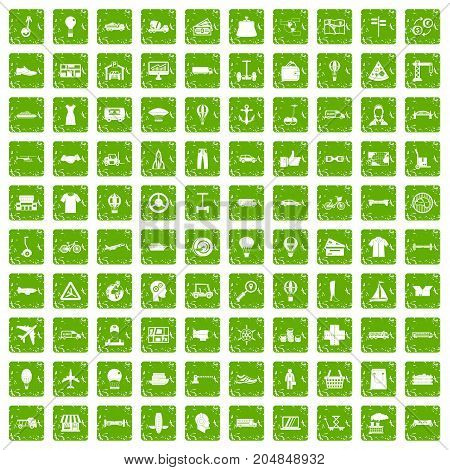 100 logistics icons set in grunge style green color isolated on white background vector illustration