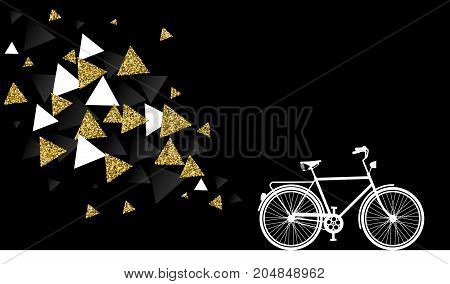 Gold Glitter Bike Abstract Concept Illustration