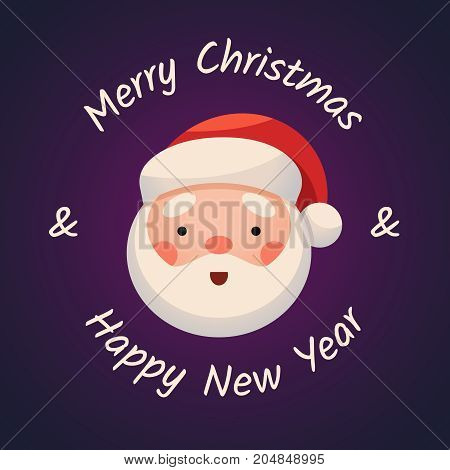 Santa Claus Face on dark background. Sticker Jolly Santa. Merry Christmas and Happy New Year. Greeting Card