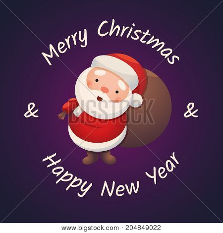 Santa Claus on dark background. Sticker Jolly Santa. Merry Christmas and Happy New Year. Greeting Card