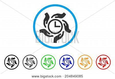 Time Care rounded icon. Style is a flat time care grey symbol inside light blue circle with black, gray, green, blue, red, orange color versions. Vector designed for web and software interfaces.