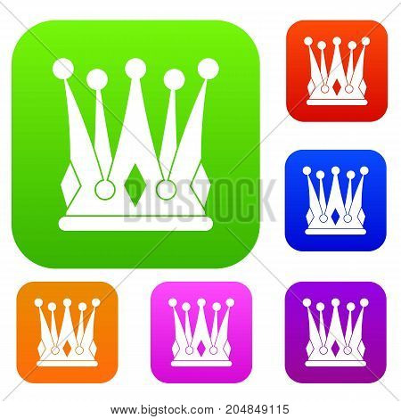 Kingly crown set icon color in flat style isolated on white. Collection sings vector illustration