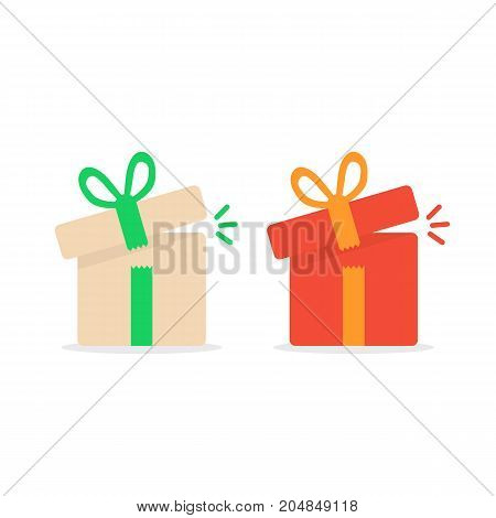 opened color gift boxes. concept of minimal kit, marvel, precious, giftbox strip, wonder, miracle, magic, xmas season, parcel. flat style logo graphic design vector illustration on white background