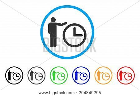 Time Show rounded icon. Style is a flat time show gray symbol inside light blue circle with black, gray, green, blue, red, orange color versions. Vector designed for web and software interfaces.