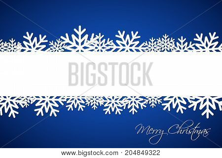 White Christmas snowflake on blue background with space for your wishes simple holiday card with snowflakes Merry Christmas