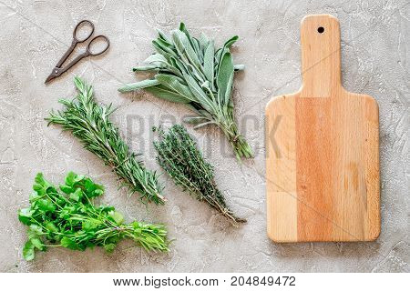 flat lay with fresh herbs and greenery for drying and making spices set on stone kitchen table background mock-up