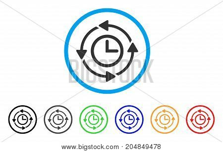 Wayback Clock rounded icon. Style is a flat wayback clock gray symbol inside light blue circle with black, gray, green, blue, red, orange color versions.