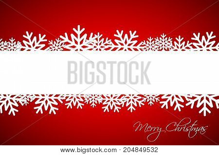 White Christmas snowflake on red background with space for your wishes simple holiday card with snowflakes Merry Christmas