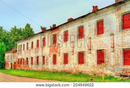 Old brick wall of a monastery in Rostov Veliky - Yaroslavl Oblast, Russia