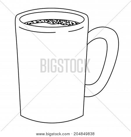 tubular mug of coffee monochrome silhouette vector illustration