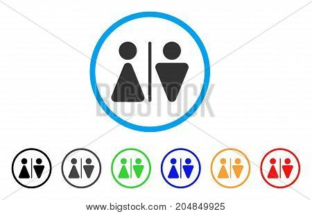 WC Persons rounded icon. Style is a flat wc persons gray symbol inside light blue circle with black, gray, green, blue, red, orange color versions. Vector designed for web and software interfaces.