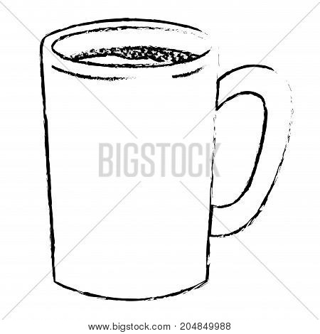 tubular mug of coffee monochrome blurred silhouette vector illustration
