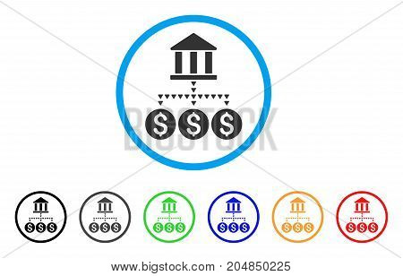 Bank Structure rounded icon. Style is a flat bank structure grey symbol inside light blue circle with black, gray, green, blue, red, orange versions. Vector designed for web and software interfaces.