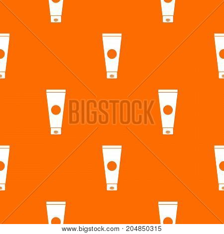 Cream tube pattern repeat seamless in orange color for any design. Vector geometric illustration