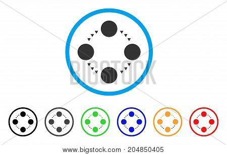 Circular Relations rounded icon. Style is a flat circular relations gray symbol inside light blue circle with black, gray, green, blue, red, orange versions.