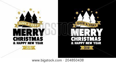 Gold Glitter Merry Christmas Quote Greeting Card