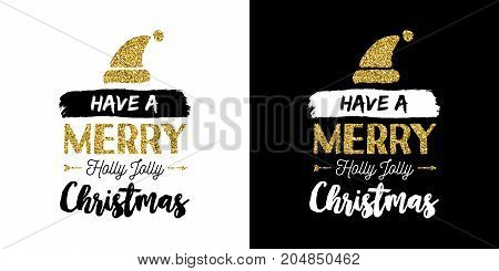Christmas Gold Glitter Hand Drawn Holiday Quote