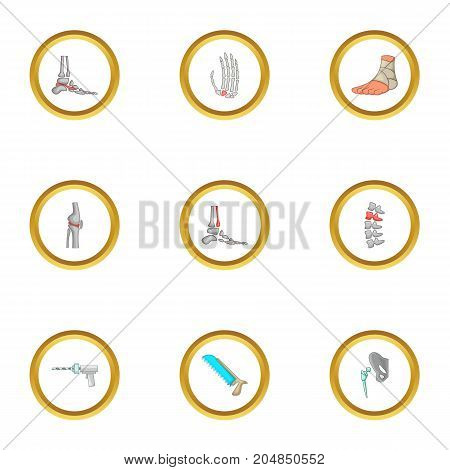 Surgical intervention icons set. Cartoon style set of 9 surgical intervention vector icons for web design