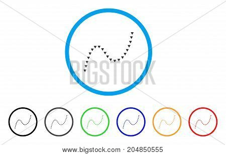 Dotted Curve rounded icon. Style is a flat dotted curve gray symbol inside light blue circle with black, gray, green, blue, red, orange color versions. Vector designed for web and software interfaces.