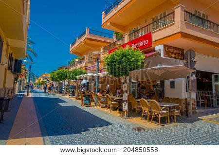 SANT ELM, MALLORCA, SPAIN - AUGUST 18 2017: Sant Elm City, quaint shopping street in the small town of San Telmo, Mallorca, Spain.