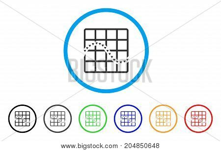 Dotted Function Chart rounded icon. Style is a flat dotted function chart gray symbol inside light blue circle with black, gray, green, blue, red, orange variants.