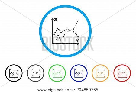Dotted Functions Plot rounded icon. Style is a flat dotted functions plot gray symbol inside light blue circle with black, gray, green, blue, red, orange variants.