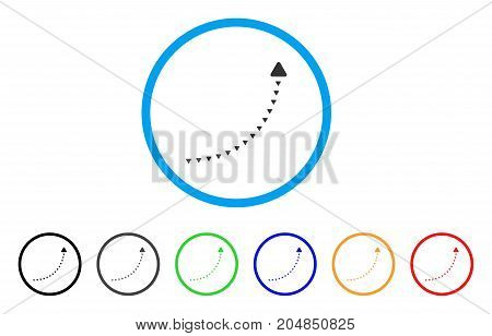 Dotted Growth Line rounded icon. Style is a flat dotted growth line gray symbol inside light blue circle with black, gray, green, blue, red, orange color versions.