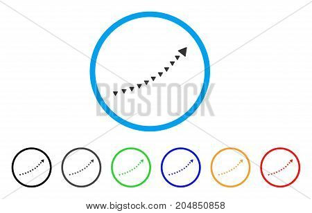 Dotted Growth Trend rounded icon. Style is a flat dotted growth trend gray symbol inside light blue circle with black, gray, green, blue, red, orange versions.